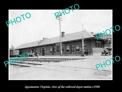 Old Large Historic Photo Of Appomattox Virginia, Railroad Depot Station 1920 1