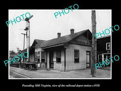OLD LARGE HISTORIC PHOTO OF POUNDING MILL VIRGINIA, RAILROAD DEPOT STATION c1920