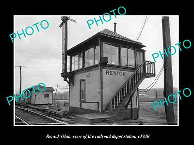 OLD LARGE HISTORIC PHOTO OF RENICK OHIO, THE RAILROAD DEPOT STATION c1930