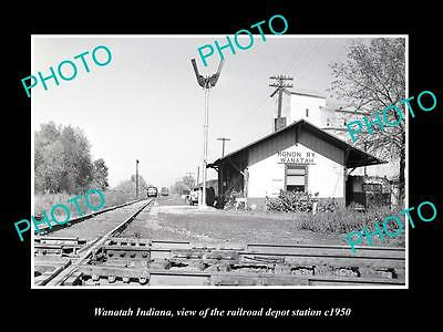 OLD LARGE HISTORIC PHOTO OF WANATAH INDIANA, THE RAILROAD DEPOT STATION c1950