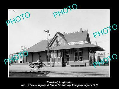 OLD LARGE HISTORIC PHOTO OF CARLSBAD CALIFORNIA, SANTA FE RAILROAD DEPOT c1930