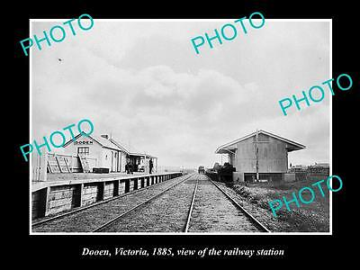 Old Large Historic Photo Of Dooen Victoria, View Of The Railway Station 1885