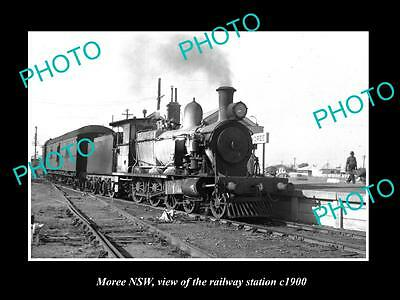 OLD LARGE HISTORIC PHOTO OF MOREE NSW, VIEW OF THE RAILWAY STATION c1900