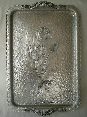 Vintage Hand Wrought Hammered Aluminum Serving Tray by Rodney Kent #423 Tulips