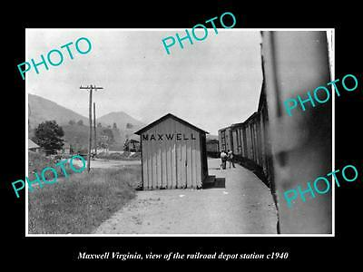 OLD LARGE HISTORIC PHOTO OF MAXWELL VIRGINIA, THE RAILROAD DEPOT STATION c1940