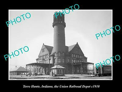 OLD LARGE HISTORIC PHOTO OF TERRE HAUTE INDIANA, RAILROAD DEPOT STATION c1910
