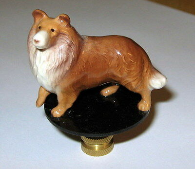Collie Lamp Finial, lamp topper, new, porcelaiin