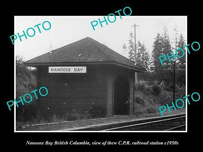OLD LARGE HISTORIC PHOTO OF NANOOSE BAY BC CANADA, THE CPR RAILWAY STATION c1950