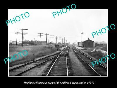 OLD LARGE HISTORIC PHOTO OF HOPKINS MINNESOTA, THE RAILROAD DEPOT STATION c1940