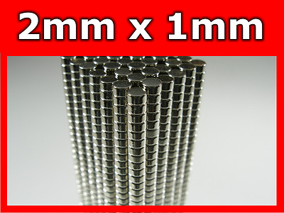100 Pieces Rare Earth Neodymium Magnets N50 2mm Diameter x 1mm Thickness