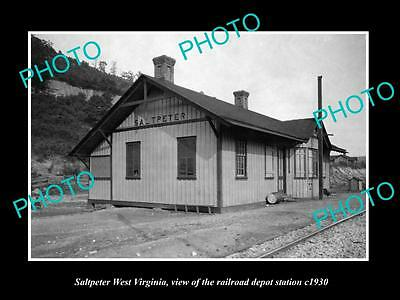 OLD LARGE HISTORIC PHOTO OF SALTPETER WEST VIRGINIA, THE RAILROAD STATION c1930