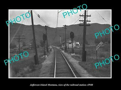 OLD LARGE HISTORIC PHOTO OF JEFFERSON ISLAND MONTANA, THE RAILROAD DEPOT c1940
