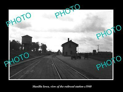 OLD LARGE HISTORIC PHOTO OF MANILLA IOWA, THE RAILROAD DEPOT STATION c1940