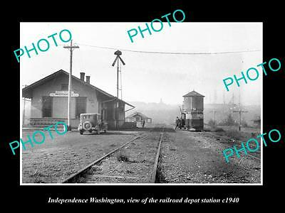 OLD LARGE HISTORIC PHOTO OF INDEPENDENCE WASHINGTON RAILROAD DEPOT STATION c1940