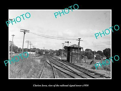 OLD LARGE HISTORIC PHOTO OF CLARION IOWA, THE RAILROAD SIGNAL TOWER c1950