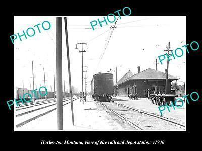 OLD LARGE HISTORIC PHOTO OF HARLOWTON MONTANA, THE RAILROAD DEPOT STATION c1940