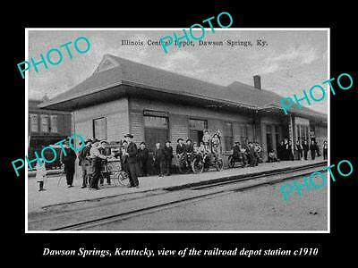 Old Large Historic Photo Of Dawson Springs Kentucky, Railroad Depot Station 1910