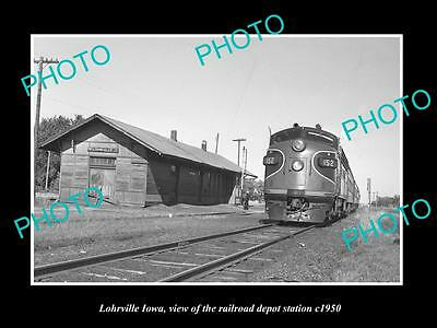OLD LARGE HISTORIC PHOTO OF LOHRVILLE IOWA, THE RAILROAD DEPOT STATION c1950