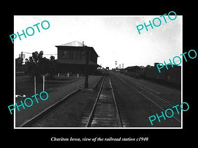 OLD LARGE HISTORIC PHOTO OF CHARITON IOWA, THE RAILROAD DEPOT STATION c1940