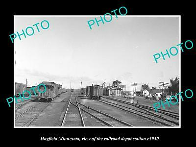 OLD LARGE HISTORIC PHOTO OF HAYFIELD MINNESOTA, THE RAILROAD DEPOT STATION c1950