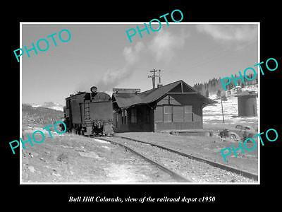 OLD LARGE HISTORIC PHOTO OF  BULL HILL COLORADO, RAILROAD DEPOT STATION c1950