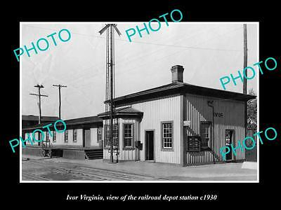 OLD LARGE HISTORIC PHOTO OF IVOR VIRGINIA, THE RAILROAD DEPOT STATION c1930