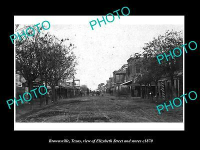 OLD LARGE HISTORIC PHOTO OF BROWNSVILLE TEXAS, ELIZABETH St & STORES c1870