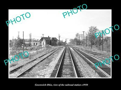 OLD LARGE HISTORIC PHOTO OF GREENWICH OHIO, THE RAILROAD DEPOT STATION c1950