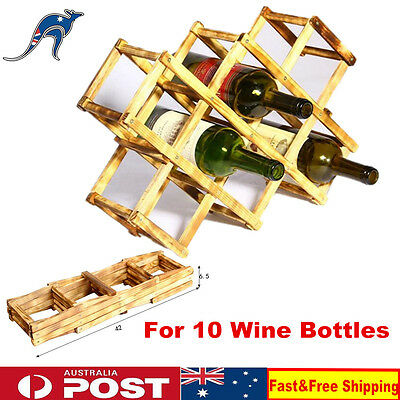 10 Bottle Vintage Collapsible Wooden Timber Expandable Storage Wine Rack Holder