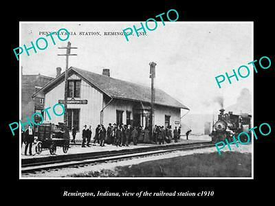Old Large Historic Photo Of Remington Indiana, View Of Railroad Station 1910 2