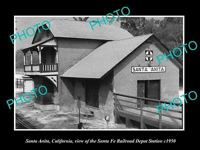 OLD LARGE HISTORIC PHOTO OF SANTA ANITA CALIFORNIA SANTA FE RAILROAD DEPOT c1950