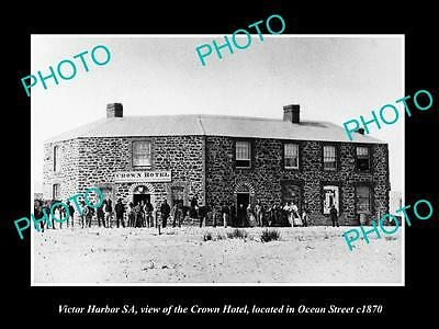 OLD LARGE HISTORIC PHOTO OF VICTOR HARBOUR SA, VIEW OF THE CROWN HOTEL c1870