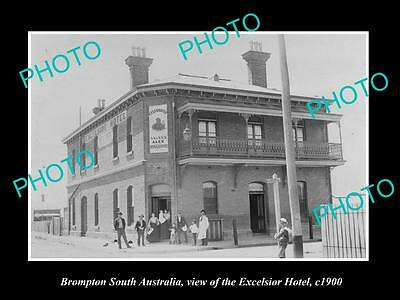 OLD LARGE HISTORIC PHOTO OF BROMPTON SOUTH AUSTRALIA, THE EXCELSIOR HOTEL c1900
