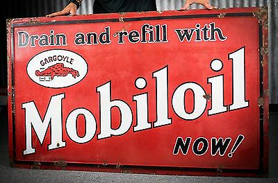 Original 1920's Mobiloil Gargoyle Porcelain Gas Oil Sign