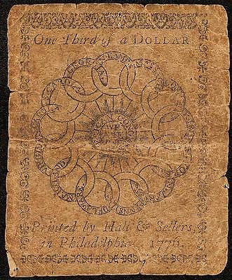 1776 $1/3 One Third Dollar Continental Currency Link Chain Back Note Paper Money