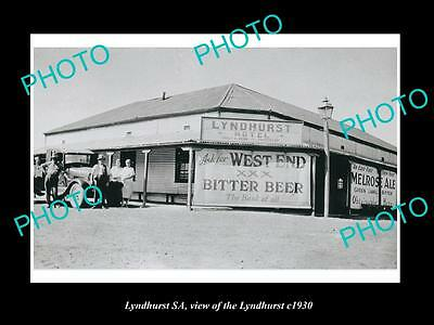 OLD LARGE HISTORIC PHOTO OF LYNDHURST SOUTH AUSTRALIA, THE TOWN HOTEL c1930