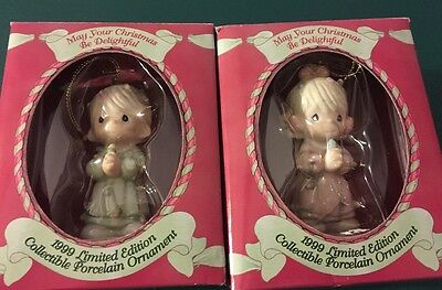 LN 1999 Precious Moments Christmas Ornament Lot Girl & Boy Porcelain