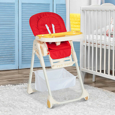 HOMCOM Baby High Chair Feeding Adjustable Recliner Seat Foldable Toddler w/ Belt