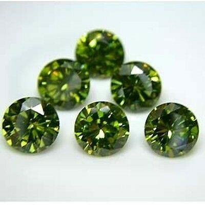 Diamant Synthetique Cz 6,00 Mm 1,70 Ct Vert Qualite A Taille Brillant++