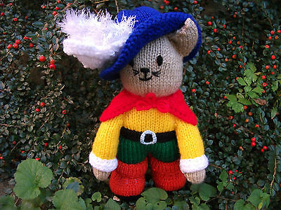 "Hand-knitted Cat soft toy ""Puss in Boots"" – Ref 1222"