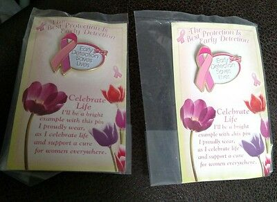 Lot of 2 Early Detection Saves Lives Breast Cancer Pin