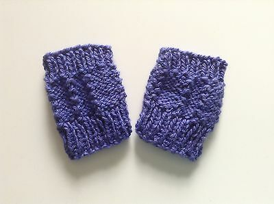 Baby mittens fingerless hand knitted cotton/silk mix Lavender blue Girlz