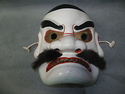 Real Japanese Kagura Pottery Mask Susanoo-no-Mikoto Shinto God made in Showa Era