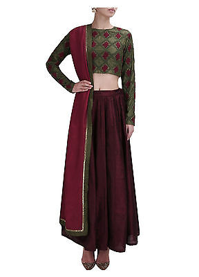 Wedding Bridal Indian Designer Ethnic Bollywood Un Stitched Lehenga Choli Set_N5