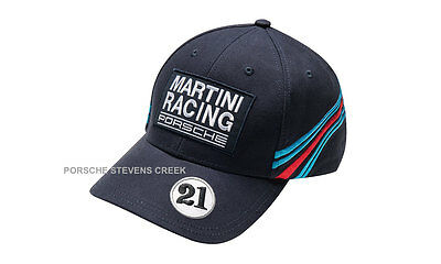 Porsche Baseball Golf Cap Hat MARTINI RACING w/ Badges Hat Dark Blue