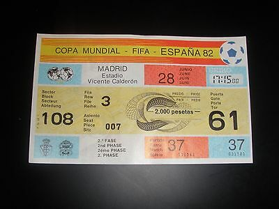 TICKET 1982 WORD CUP GAME 37 FRANCE v AUSTRIA UNUSED