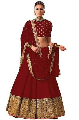 Indian Wedding Bollywood Designer Bridal Ethnic Un Stitched Lehenga Choli Set_N8