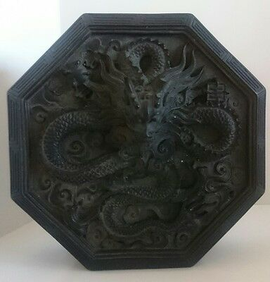 Chinese Octagonal Heavy Black Covered Box Inkstone With Dragon Relief