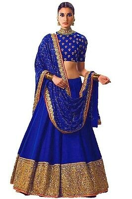Indian Wedding Designer Bollywood Bridal Ethnic Un Stitched Lehenga Choli Set_O0