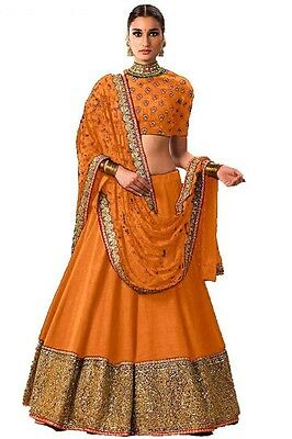 Indian Wedding Designer Bollywood Bridal Ethnic Un Stitched Lehenga Choli Set_O1